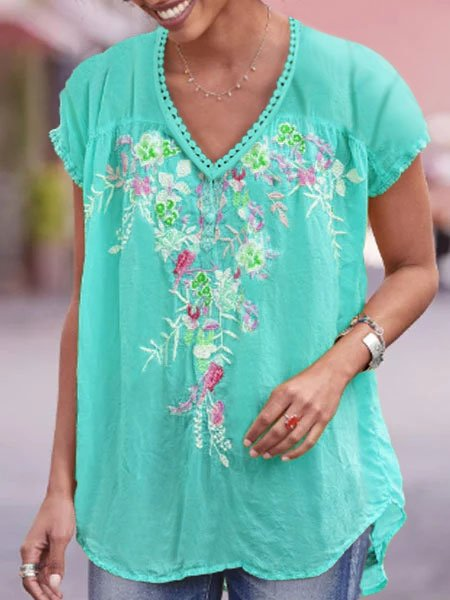 Casual Cotton-Blend Short Sleeve Floral T-shirts