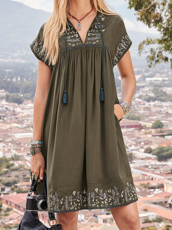 Army Green Printed Holiday Cotton-Blend V Neck Dresses