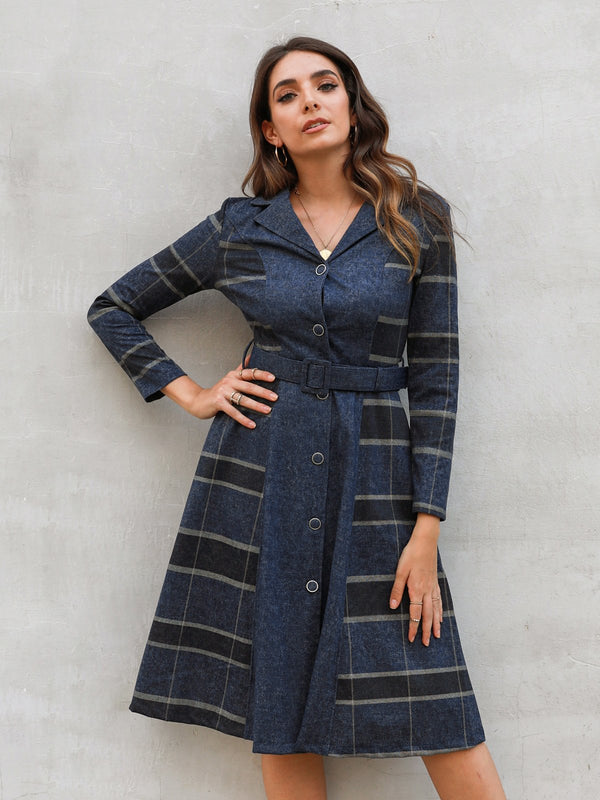 Geometric Long Sleeve Lapel Dresses With Belt