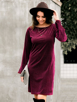Rose Red Round Neck Velvet Dresses