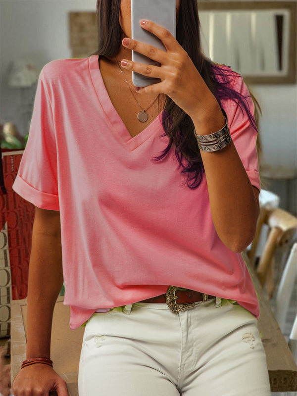 Short Sleeve Cotton V Neck Casual Tops