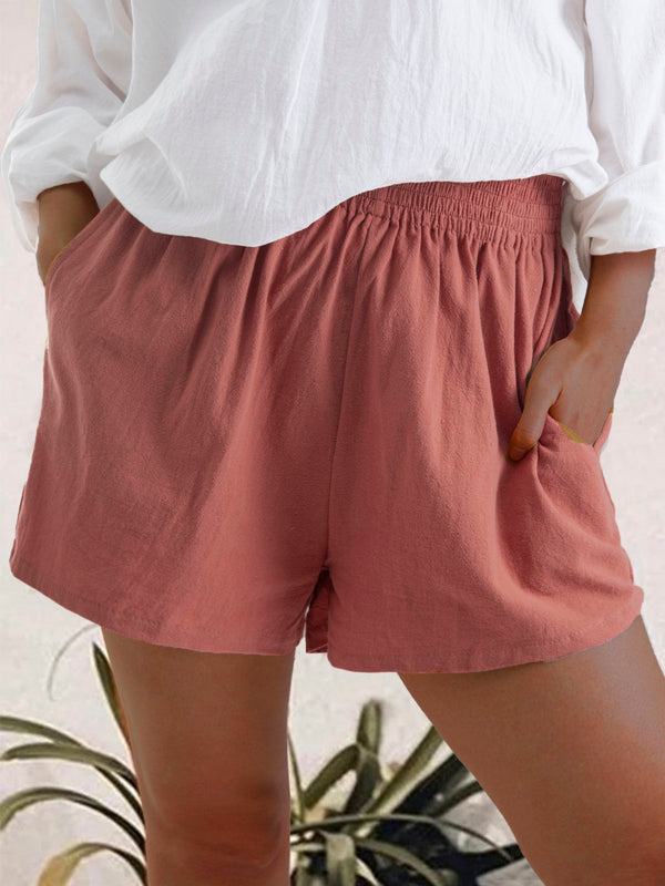 Drawstring Elastic Waist Casual Cotton Linen Beach Shorts