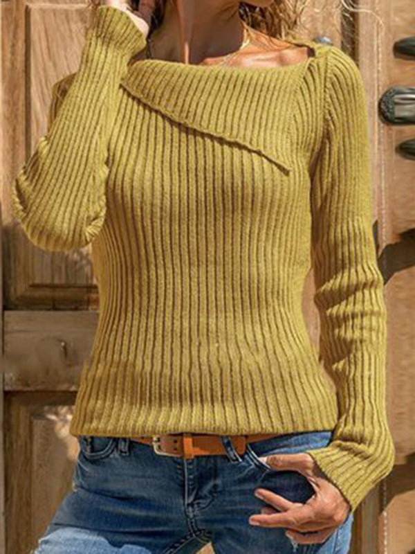 Knitted Solid Vintage Asymmetrical Collar Long Sleeve Sweaters