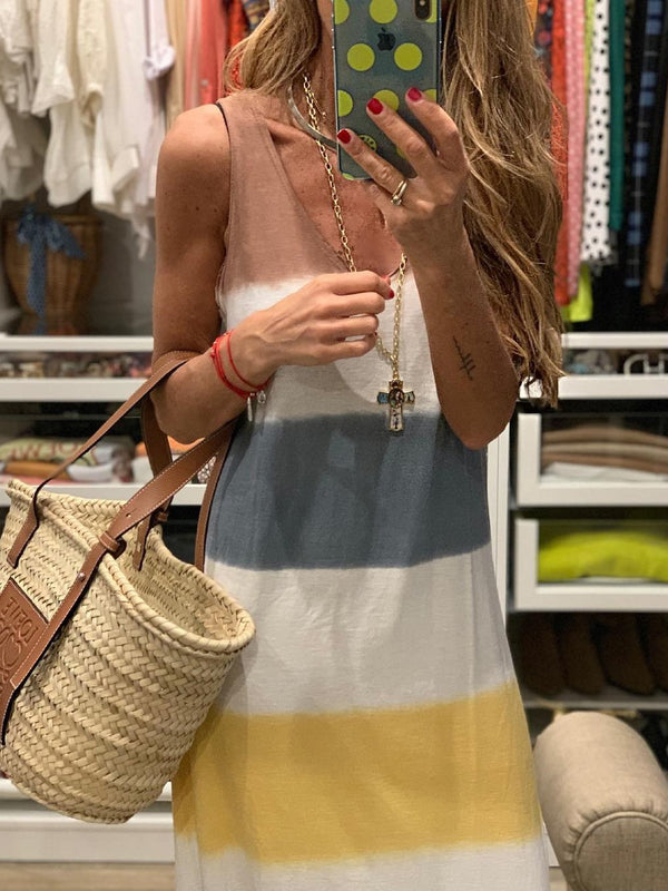White Striped Casual O-Neck Dresses
