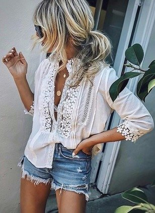 Solid 3/4 Sleeves Blouse