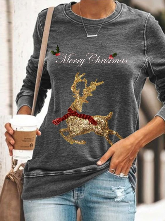 Christmas Gray Cotton-Blend Casual Shirts & Tops