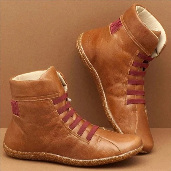 Women Plain Warm Plush Lining Lace-Up Boots
