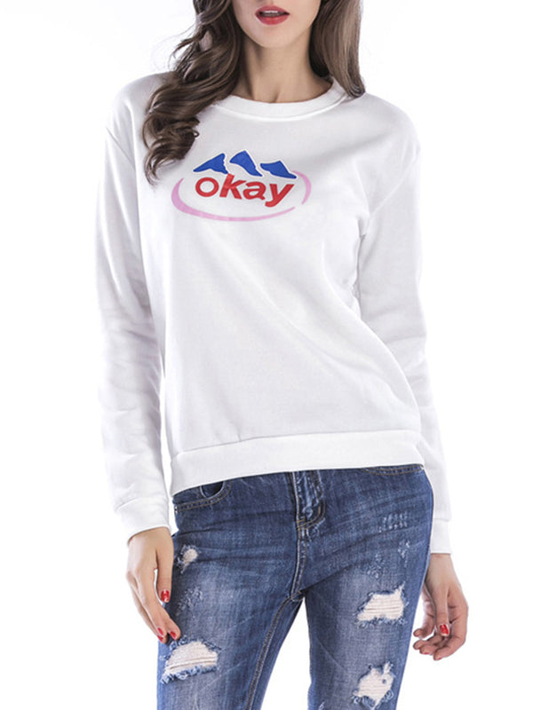 Casual Crew Neck Paneled Long Sleeve Letter Printed Cotton Sweatshirts  Hoody