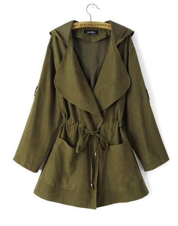 Warm Coat Fashion Hooded Long Trench Coat for Women