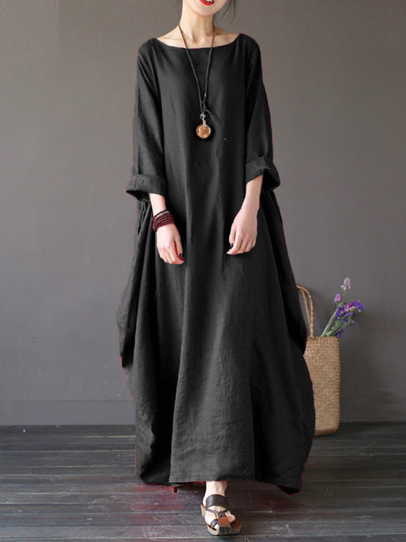 Women Oversized Round Neck 3/4 Sleeve Tunic Baggy Casual Maxi Long Shirt Dress