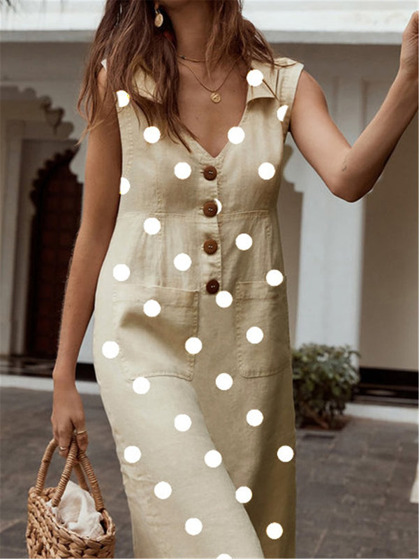 Women Polka Dots Casual V Neck Sleeveless Shift Pockets Dresses
