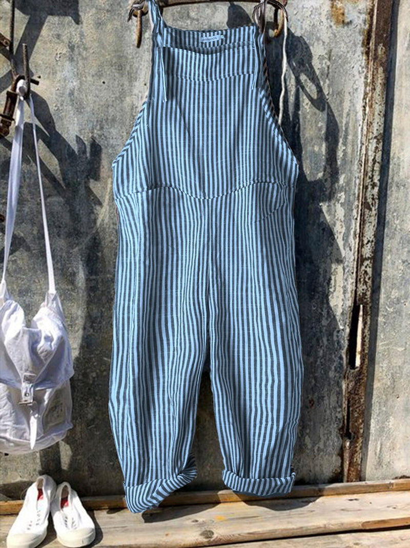 Vintage Black Gray Stripes Pants Romper Jumpsuits
