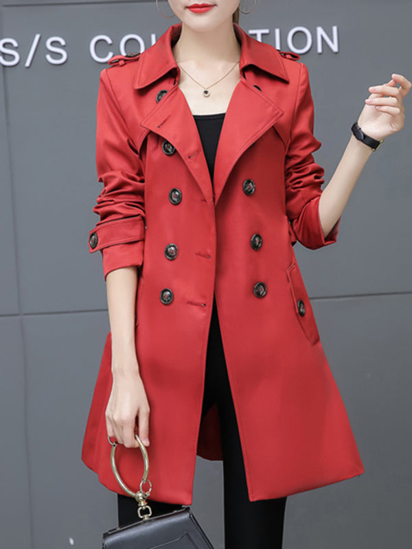 Women's Coat Buttoned Pockets Turn-down Collar Casual PeaCoat