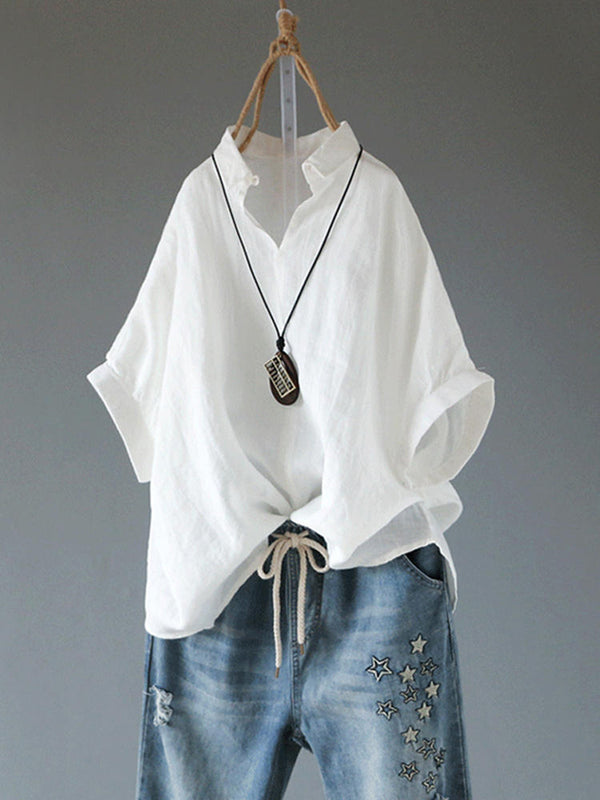 Casual Half Sleeve Solid Blouse