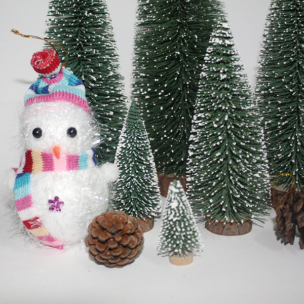Christmas Snow Mini Tree Holiday Festival Gift Party Office Ornament Decor