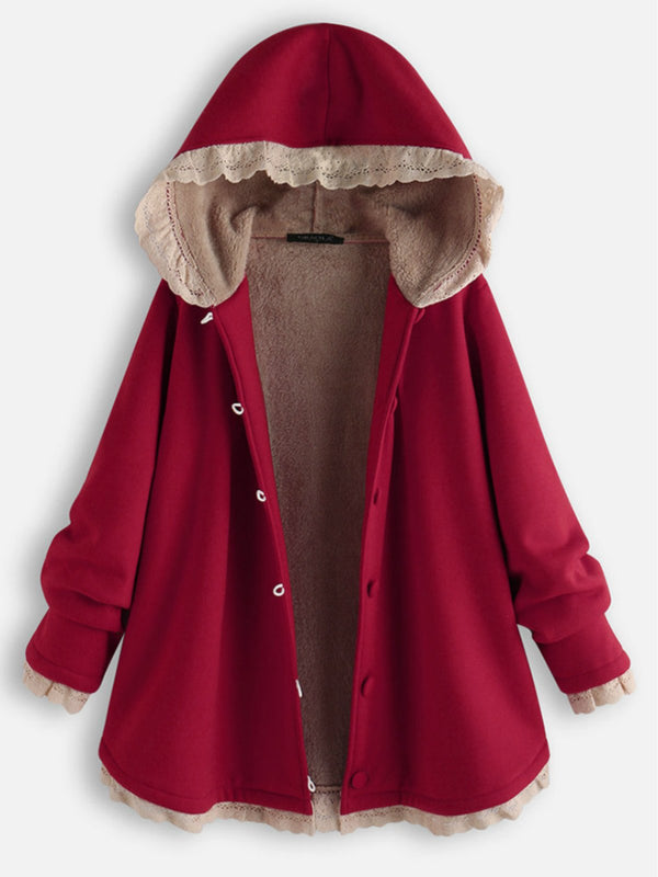 Red Hoodie Long Sleeve Casual Outerwear
