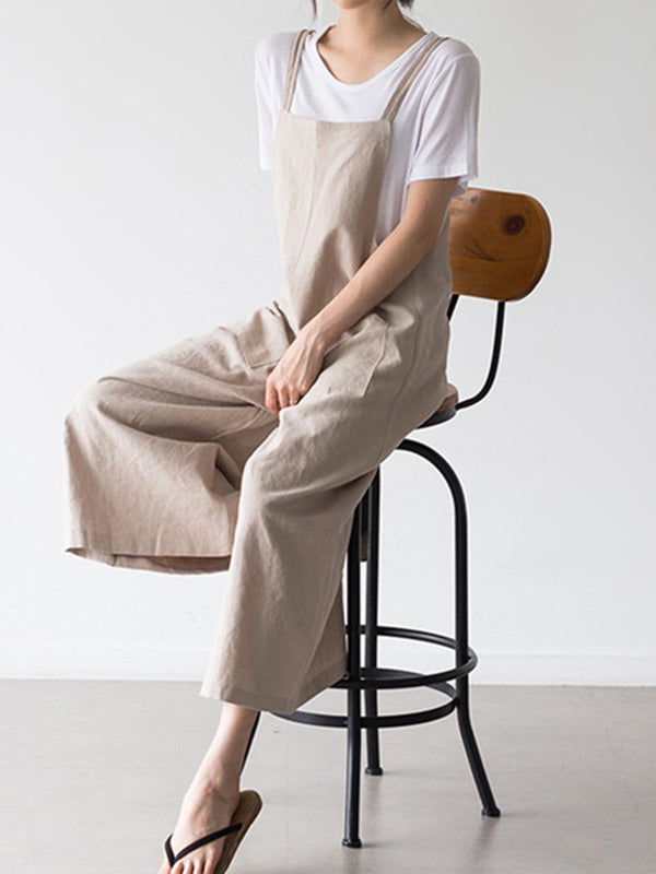 Casual Spaghetti Solid Pockets Jumpsuits