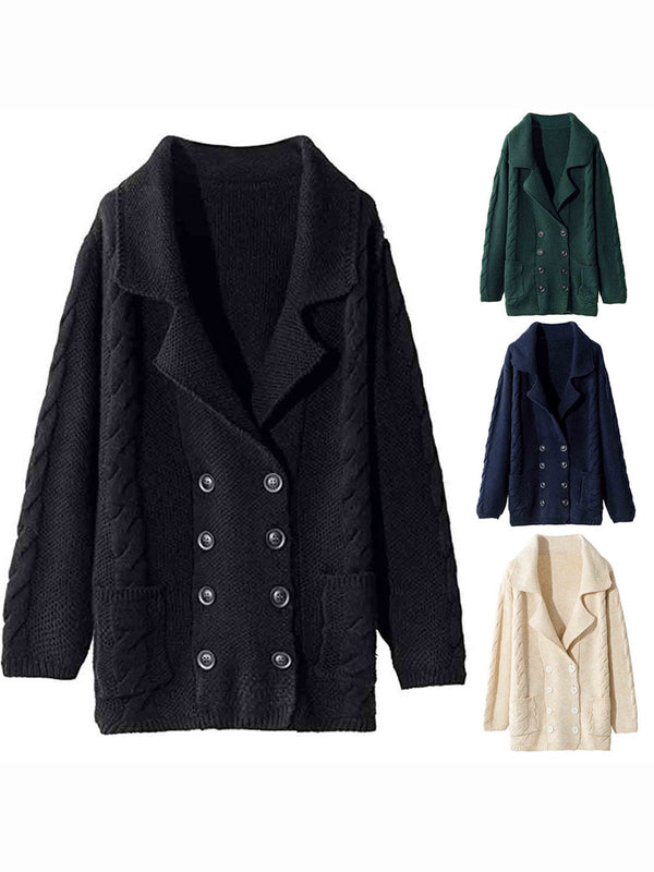 Women Double-Breasted Lapel Pockets Knit Wear Cardigans