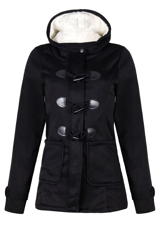 Horn Button Fleece Hooded Duffle Coat