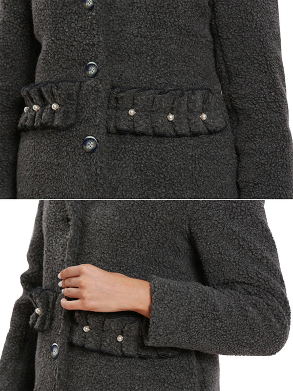 Women Solid Color Single Breasted Slim Autumn Winter Coat