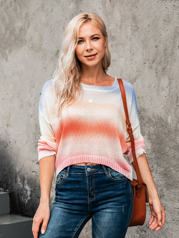 Multicolor Sweet & Cute Knitted Scoop Neckline Shirts & Tops