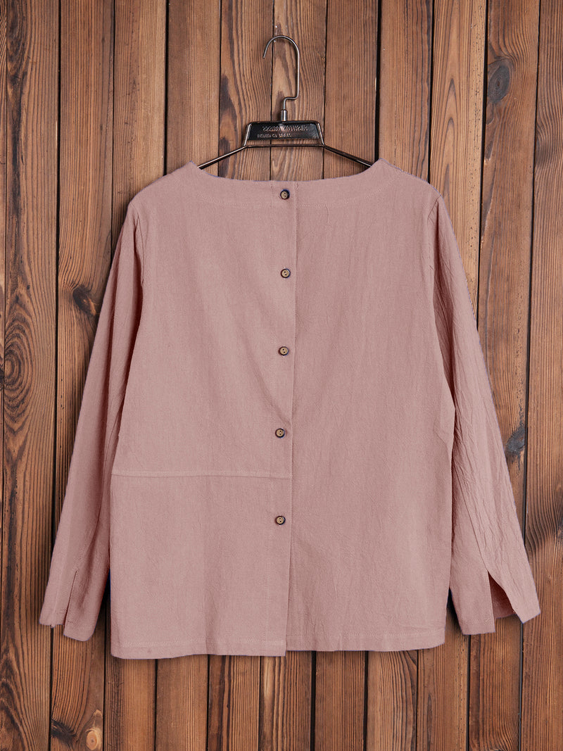 Back Buttoned Casual Round Neck Shirts & Tops