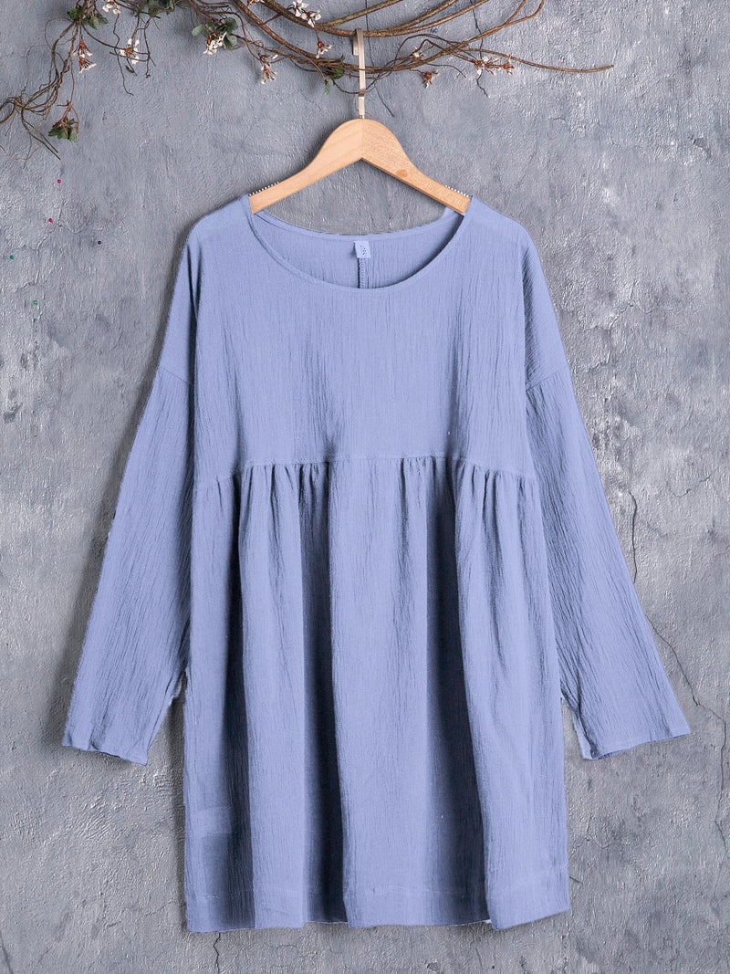 Spring Pleated Details Long Sleeves Round Neck Casual Tops