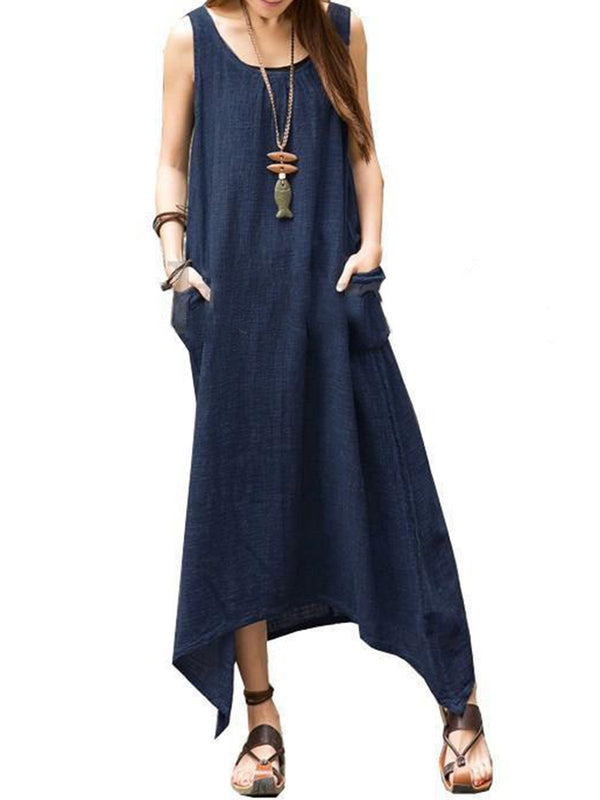 Cotton Asymmetrical Solid Sleeveless Maxi Dresses