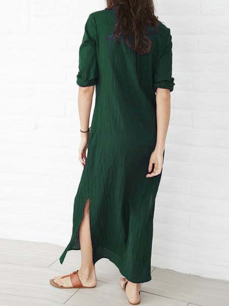 Casual 3/4 Sleeve Slit Solid Maxi Dress