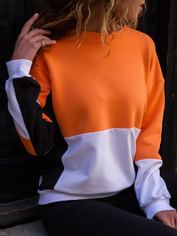 Casual Color-block Solid Cotton Crew Neck Sweatshirt