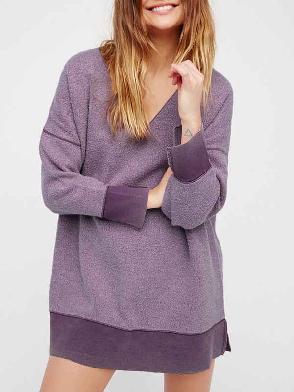 V Neck Long Sleeve Casual Cotton Oversized Sweatshirts