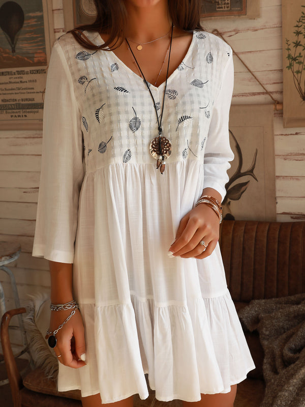 Off White V Neck Holiday Cotton Swing Dresses