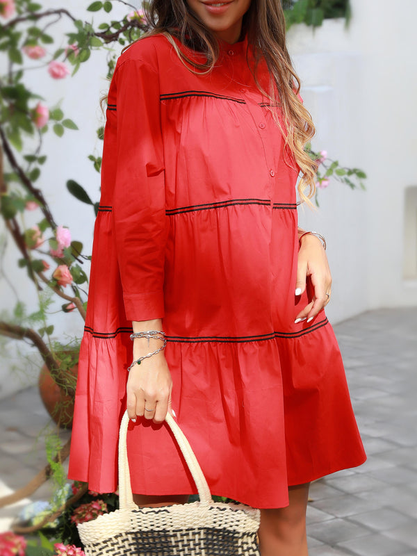 Red Shift Cotton Long Sleeve Dresses