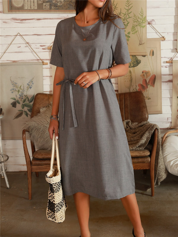 Dark Grey Cotton-Blend A-Line Casual Short Sleeve Dresses