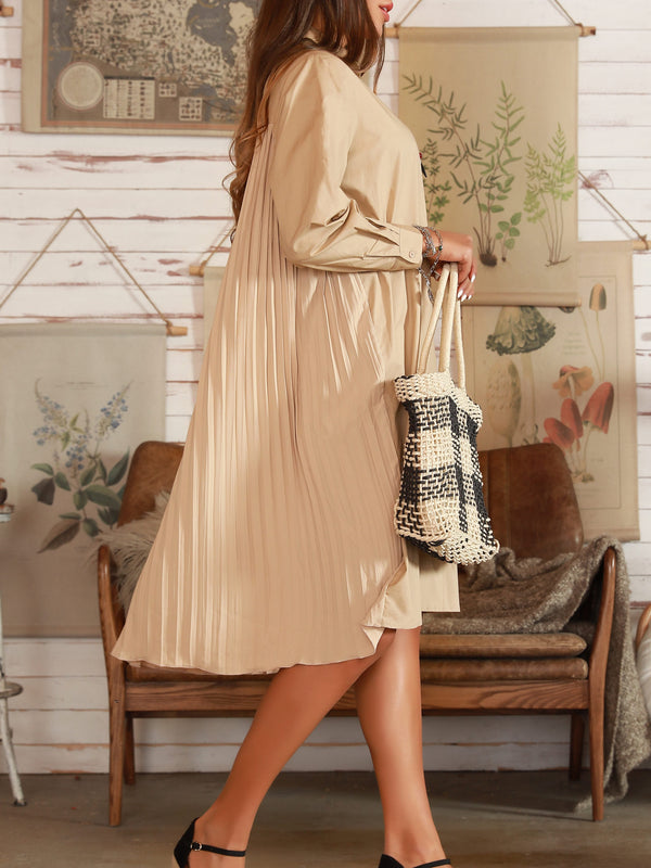 Apricot Long Sleeve Cotton Shirt Collar Dresses