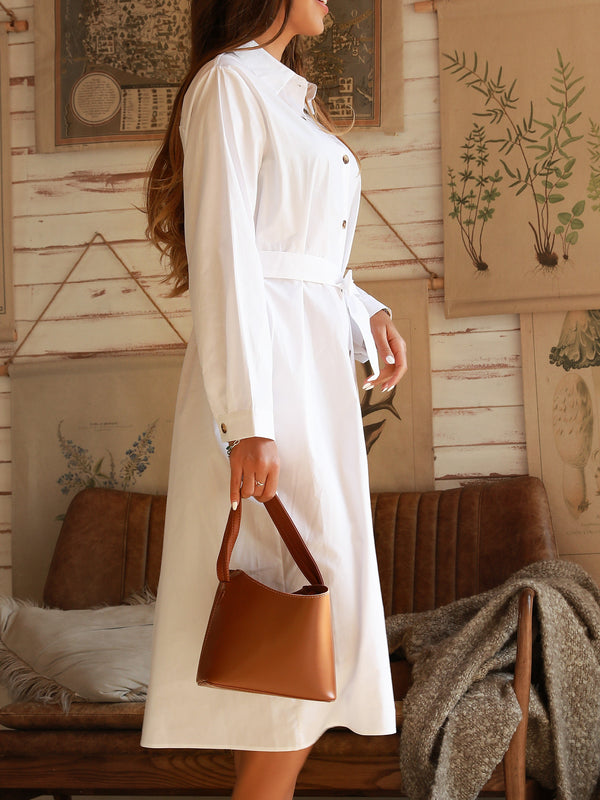 Off White Cotton Shirt Collar Casual Dresses