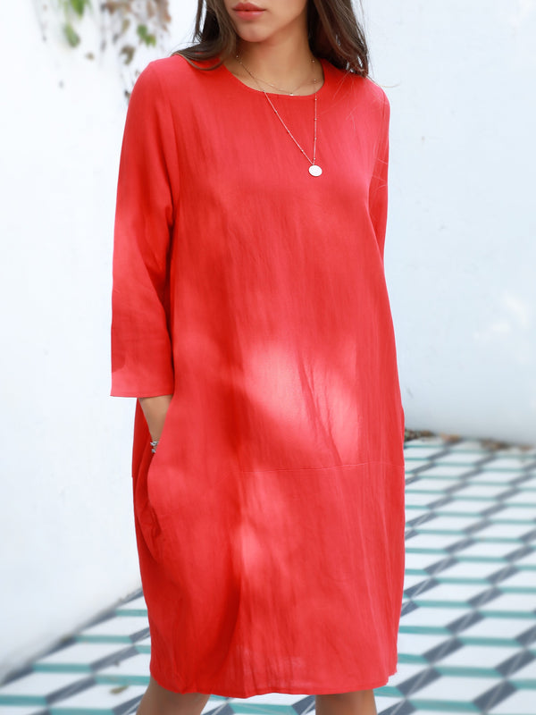Red Crew Neck Long Sleeve Dresses