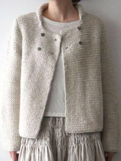 White Woven Casual Sweater