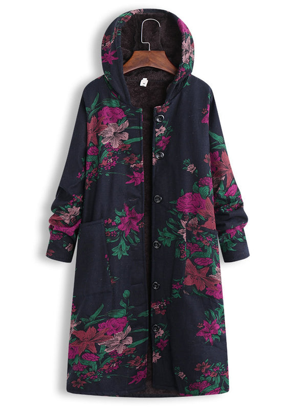Floral Printed Long Buttoned Coat