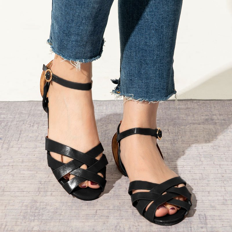 Crossed Strap Flats Adjustable Buckle Sandals