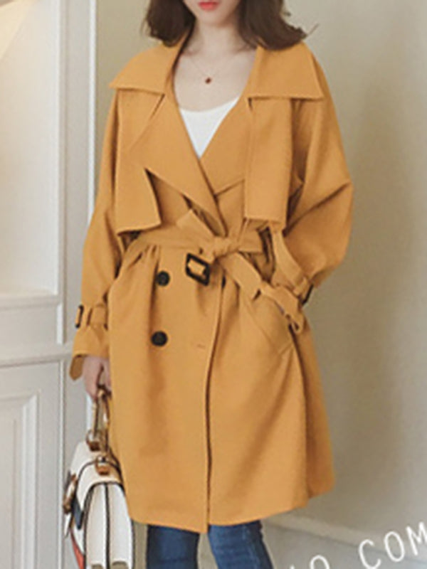 Women's Trench Coat Buttoned Solid Shawl Collar Casual Coat