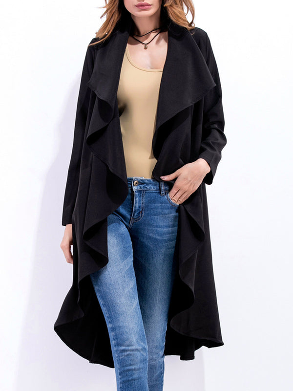 Casual Shawl Collar Long Sleeve Cotton Trench Coats With Belt