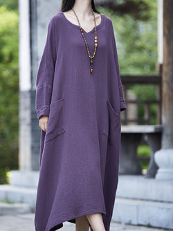 Casual Long Sleeve Pockets Dresses