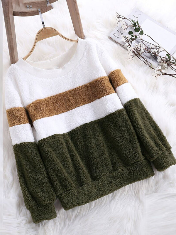 Cashmere Long Sleeve Casual Crew Neck Striped Sweatshirts