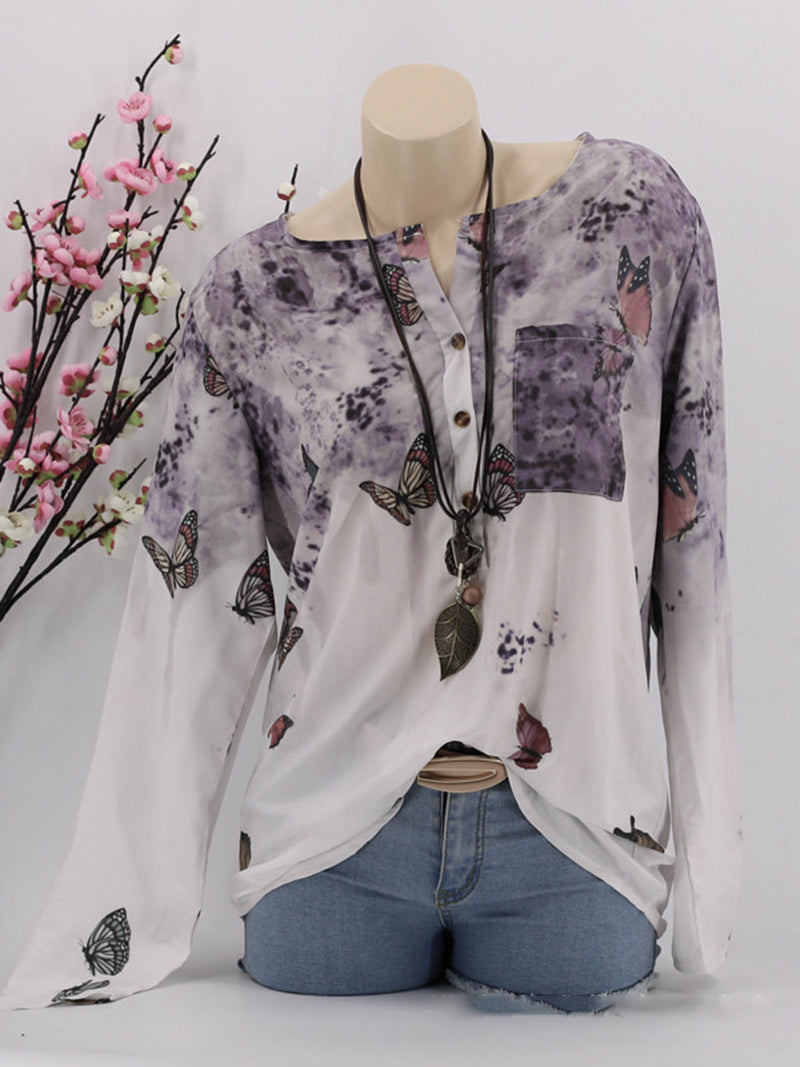 5 Colors Graphic-Printed Butterfly Paneled Blouses
