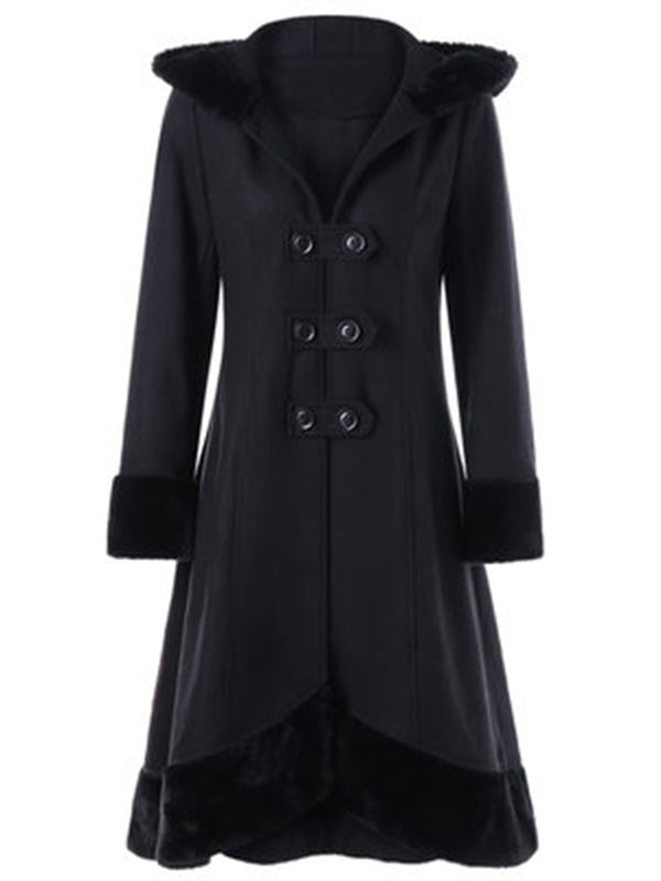 Lace-up  A-Line Furry Coat