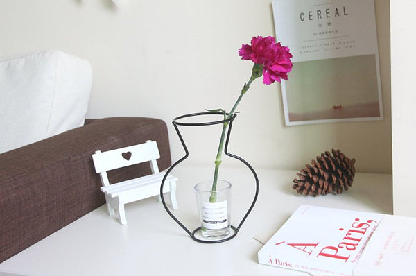 Wire Vase Dry Flowers Simulation Flower Arrangement Wire Crafts Nordic Style Creative Decoration Flower Stand
