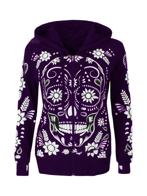 Geometric Long Sleeve Cotton-Blend Halloween Hoodies