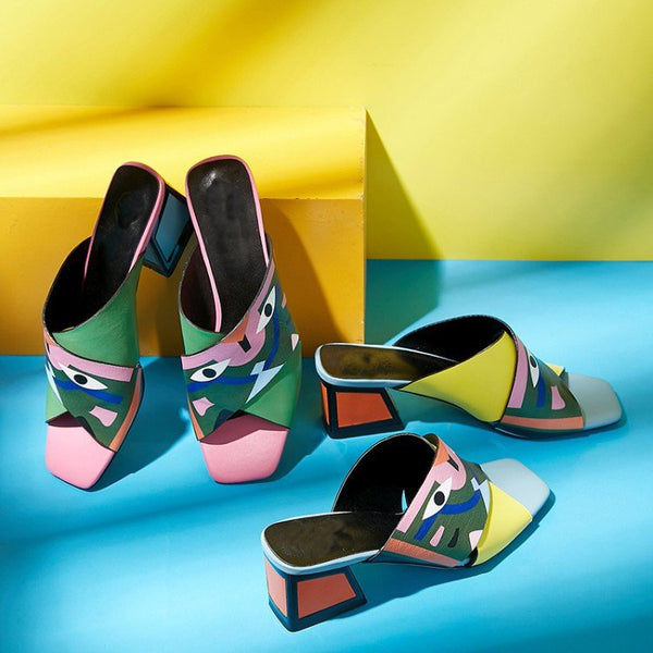 Abstract Printed PU Chunky Heel Mules Shoes