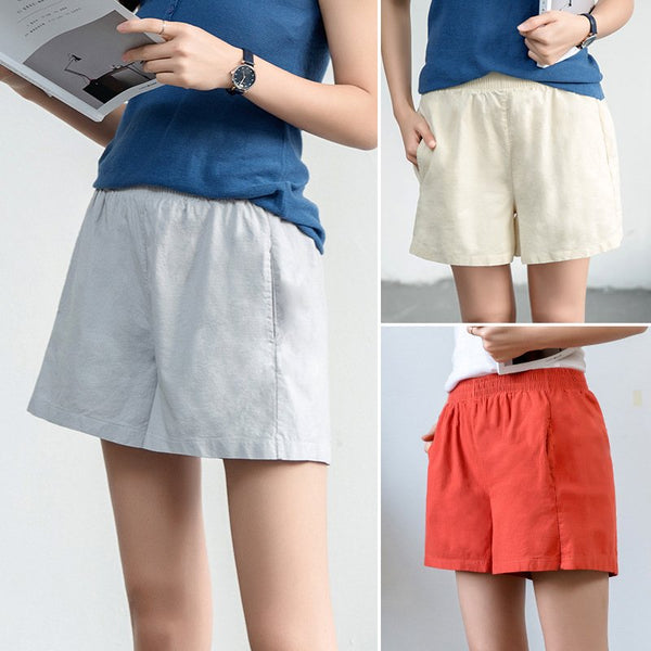 Pockets Casual Solid Women's Shorts